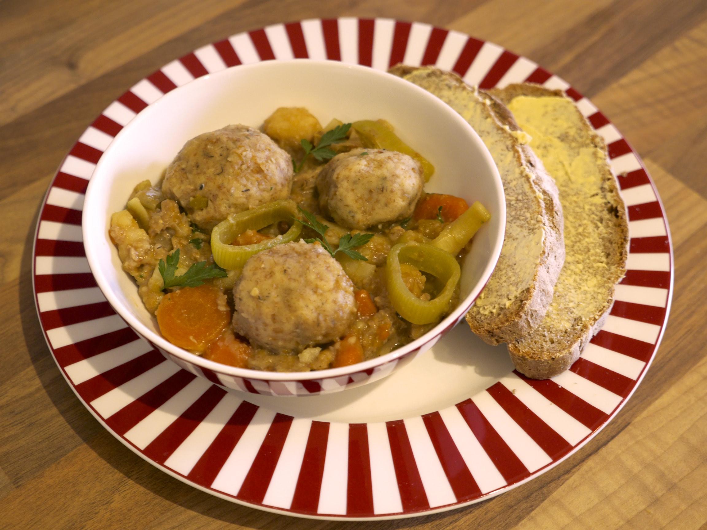 Cawl (Welsh stew) with herby dumplings