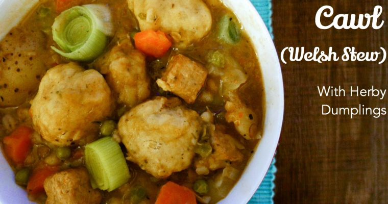 Cawl (Welsh stew) with herby dumplings