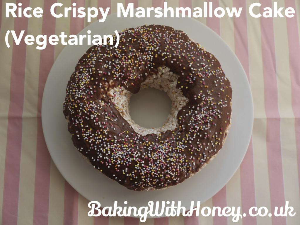 Rice Crispy Marshmallow Cake (Vegetarian, Gelatine Free)