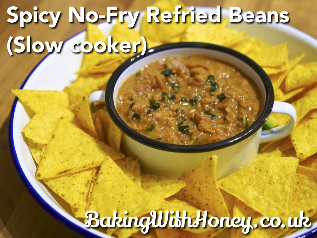Vegan Spicy No-Fry Refried Beans  (Slow Cooker)