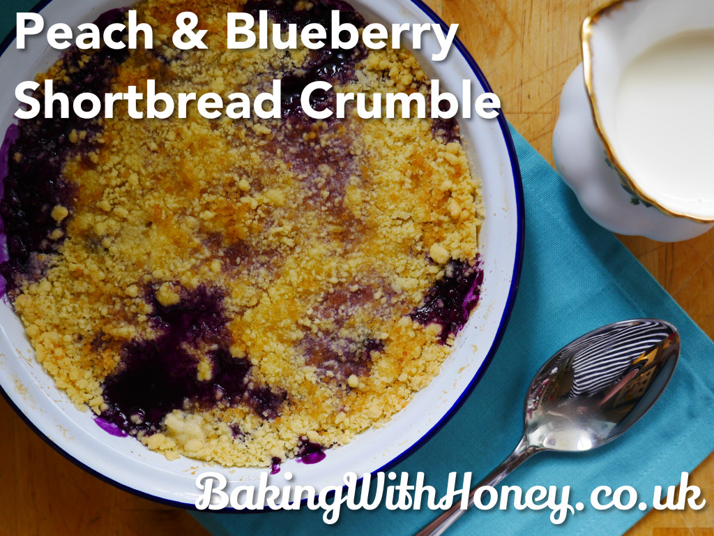 Peach & Blueberry Shortbread Crumble