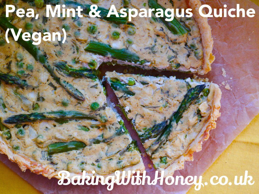 vegan pea, mint & asparagus quiche tart