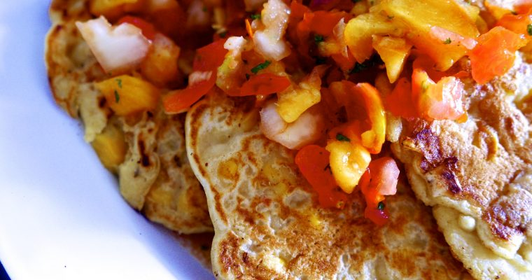 Vegan Sweetcorn Fritters + Summer Peach Salsa